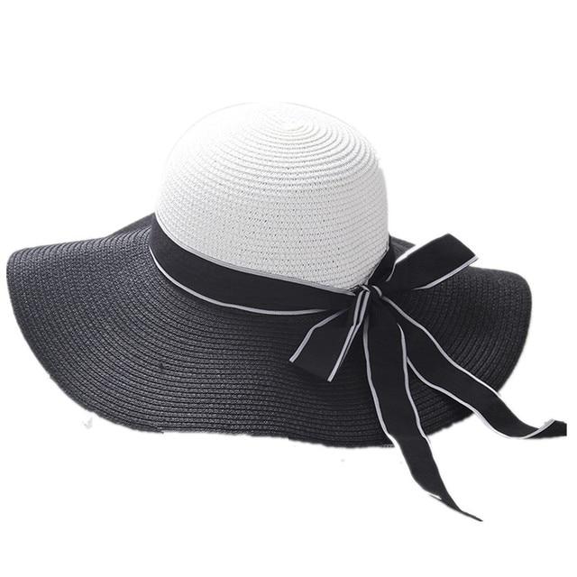 BomHCS Moda Viaggi Estate Donne Tesa Larga Nero Bianco Cappello di Paglia  di Sun Caps 17F 83eaf2ee15cc