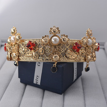 Baroque Vintage Metal Flower Frame Pearl Headband Crown  Hair Accessories Women 776
