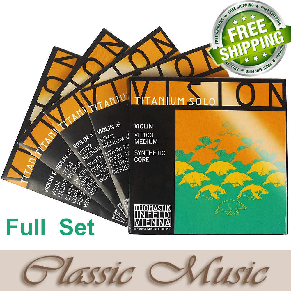 Thomastik Vision Titanium Solo Violin Strings (VIT100),Full set ,Set 4/4 Medium. Made in Austria. free shipping, original thomastik vision solo vis100 4 4 violin strings full set med alum d made in austria free shipping