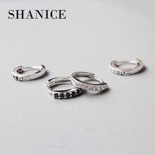 Shanice 100% real puro 925 prata esterlina hoop brinco para as mulheres branco/preto cz cristal zircônia earing jóias