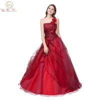 100% Real Image Cheap One Shoulder Quinceanera Dress Burgundy Green Ball Gown Beaded Floor Length Flower Gowns In Stock