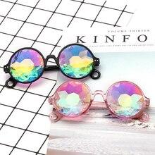 Round Kaleidoscope Glasses Rave Festival Men Women Brand Designer Holographic Sunglasses Retro