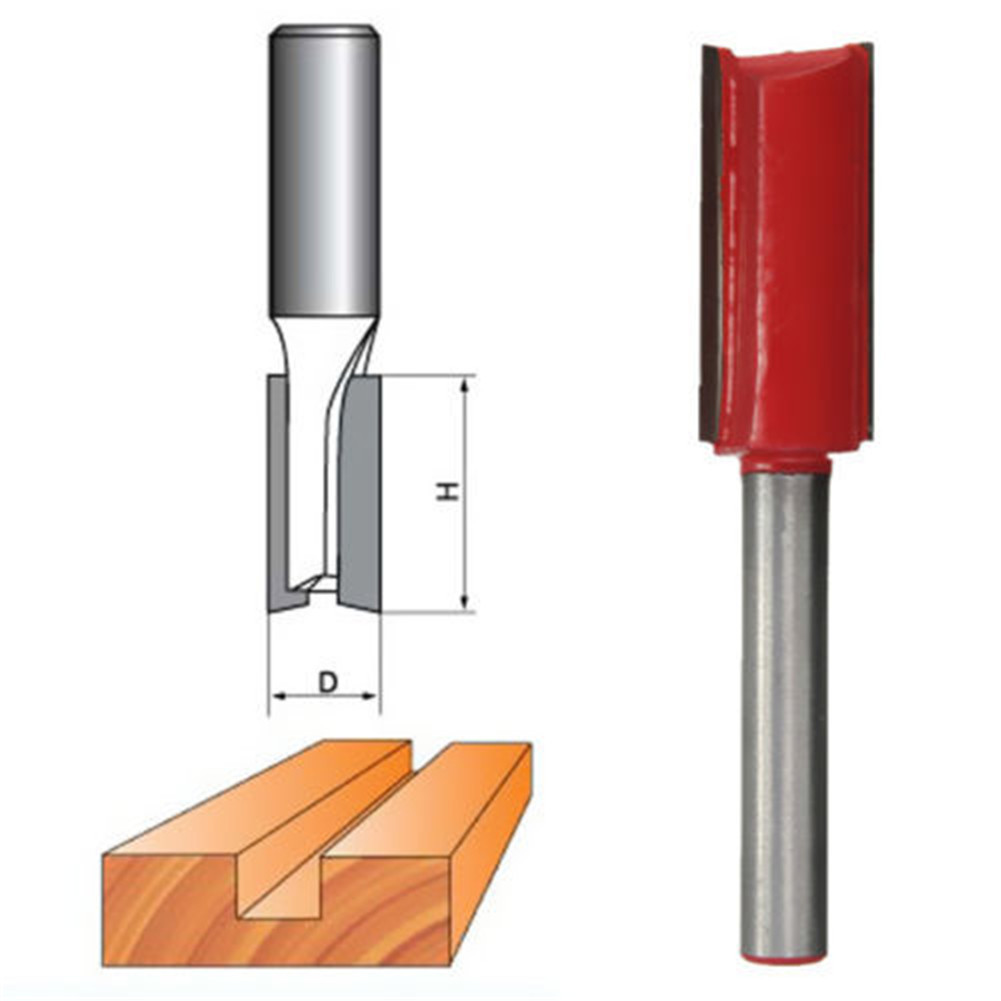 "1//2/"" Shank 1//2/"" Cutting Diameter Double Flutes Straight Router Bit"
