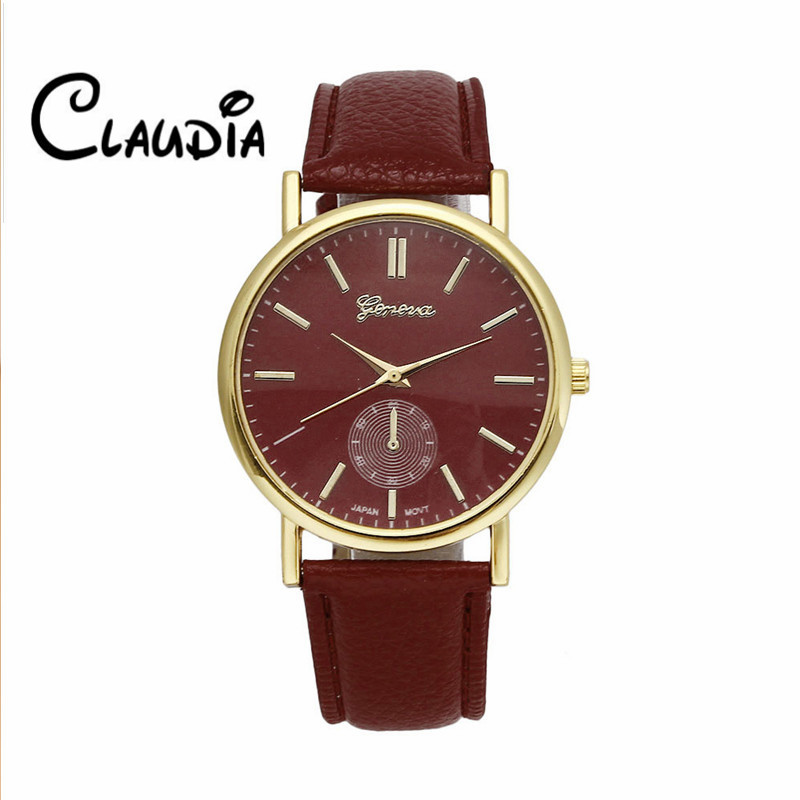 Hot sale CLAUDIA Fashion Geneva Unisex Leather Band Analog Quartz Vogue Wrist font b Watches b