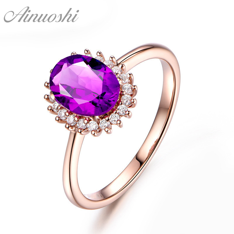 AINUOSHI Natural Amethyst Sunflower Ring 1.25ct Oval Cut Engagement Jewelry Women Ring Rose Gold Color 925 Sterling Silver Ring