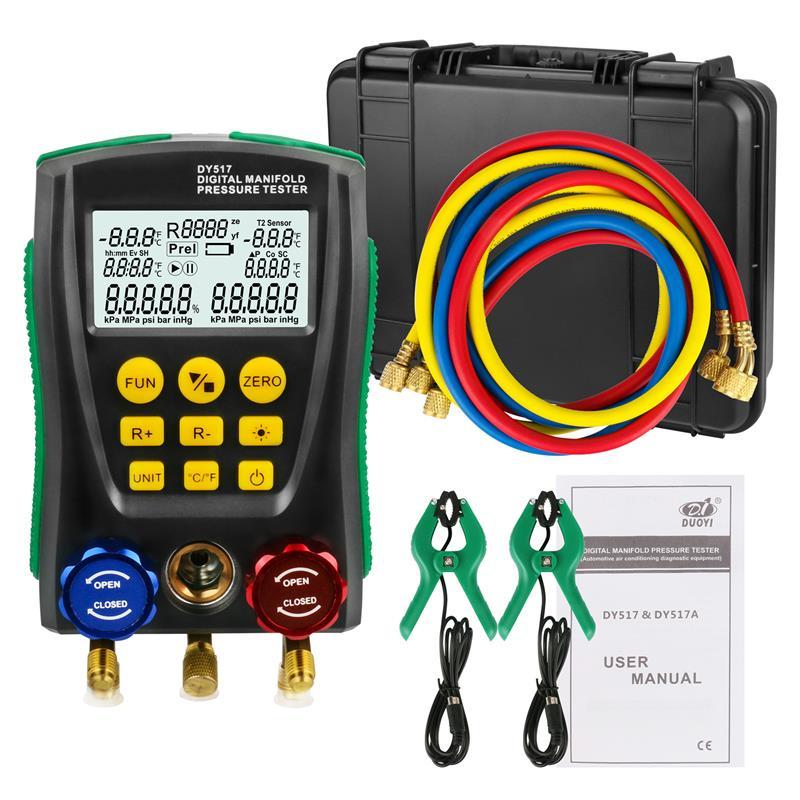 DY517A Refrigeração Manómetro Digital ATAC Metros Temperatura Tester Kit com ferramenta de Teste de diagnóstico De Pressão De Vácuo
