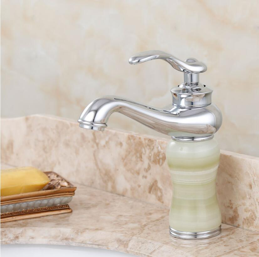 Brass And Natural Jade Basin Faucet Bathroom Faucet Hot And Cold Chrome/gold Finish Wash Faucet