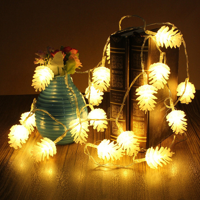 2.2M 20 Pine Cone Leds String Lights Christmas Tree Holiday ...