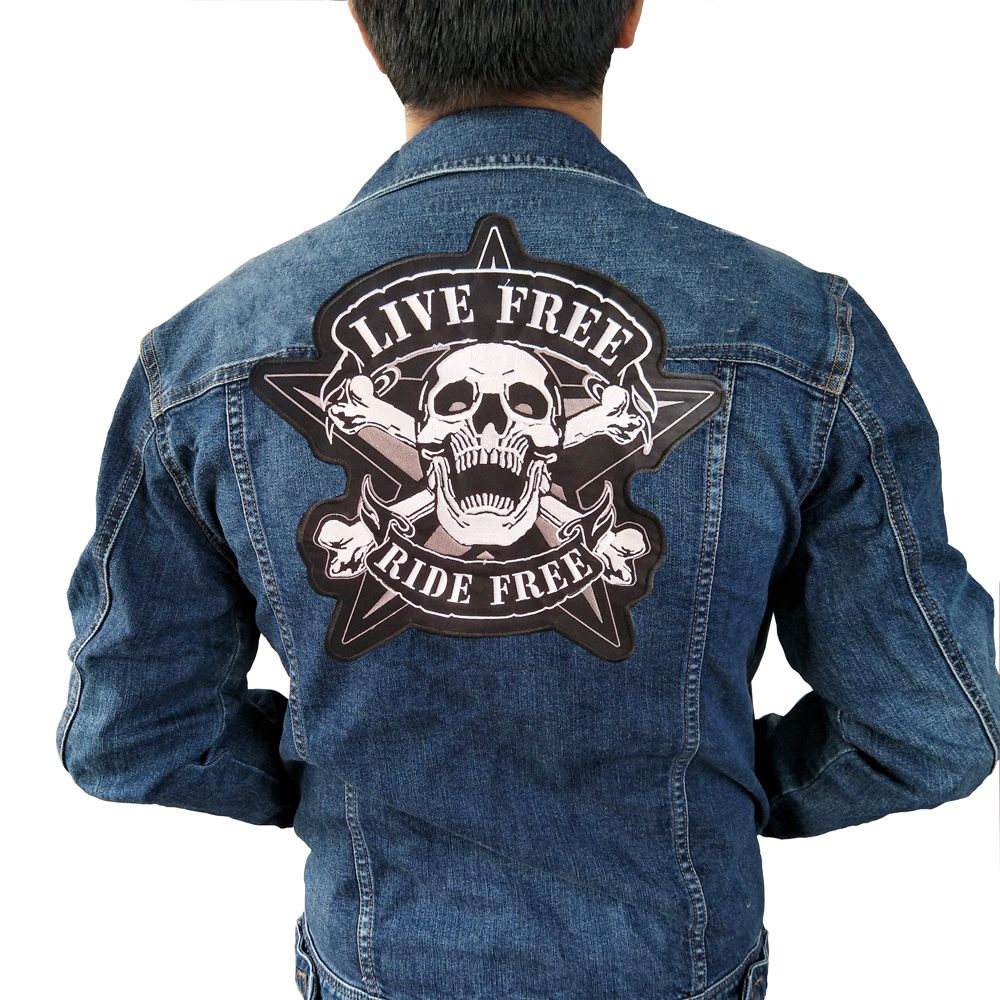 live free Iron On Patch Embroidered Applique Sewing Label punk biker Patches Clothes Stickers Apparel Accessories Badge ...