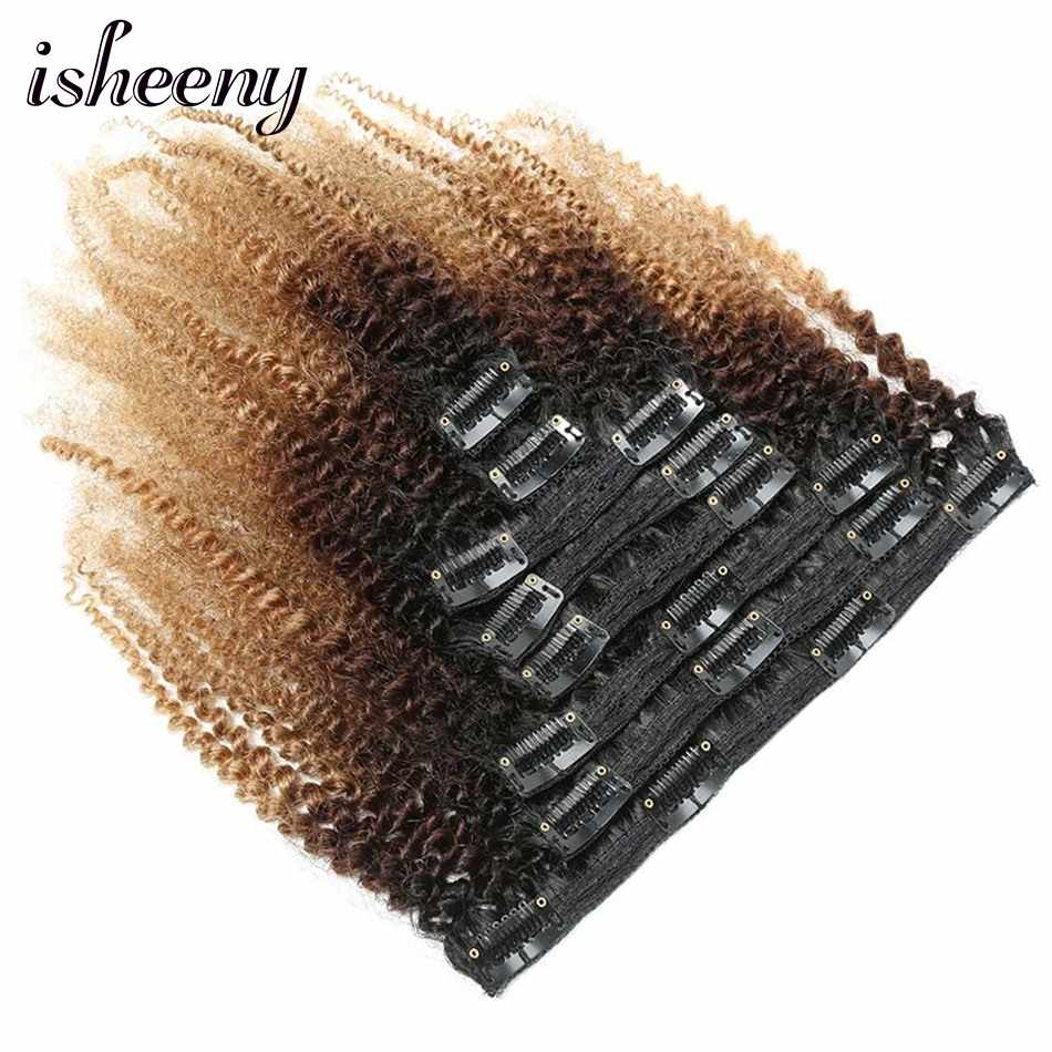 Isheeny 120g Remy Clip Full Head 1B/4/27 Afro Kinky Curly Clip In Hair Extensions 8pcs/set Brazilian Human Extension Clip Hair