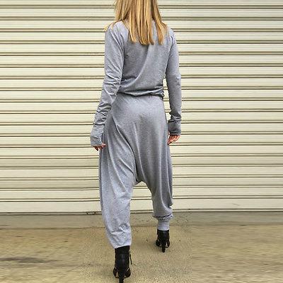 Autumn Women Sexy V Neck Long Sleeve Pleats Loose Jumpsuit Rompers Harem Playsuit  Plus Size