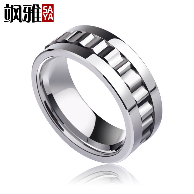 2017 new design 8mm width mans tungsten rings high polished with rotary gear lucky rings comfort - Gear Wedding Ring