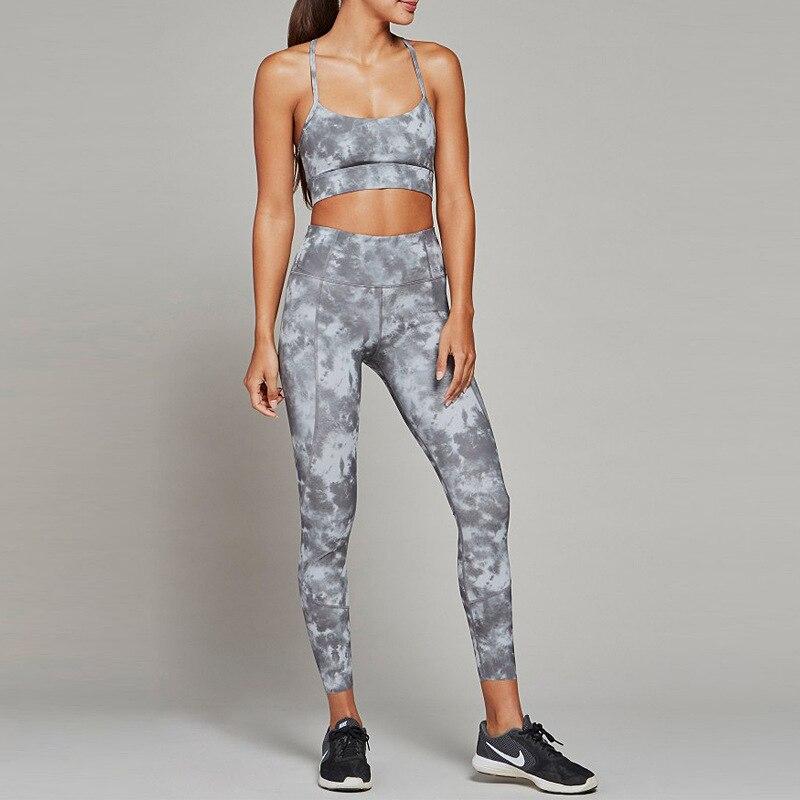 32da01dc24daa Women Sportswear Elastic Printed Leggings Padded Sport Bra Tank Top Running  Jogger Fitness Gym Yoga Set Sport Suit Tracksuit