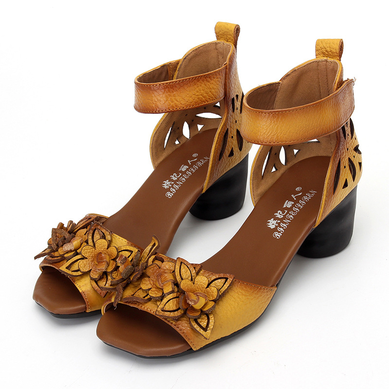Women high Heels Sandals Closed Toe Flower Ethnic Style Handmade Genuine Leather Personalized Women Sandal black yellow red 2017 women thick heels sandals flower ethnic style summer handmade genuine leather shoes personalized women sandal