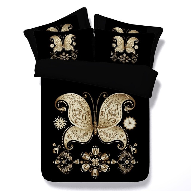 Black Gold Floral Bedding Set Butterfly Double Twin Full Queen Super