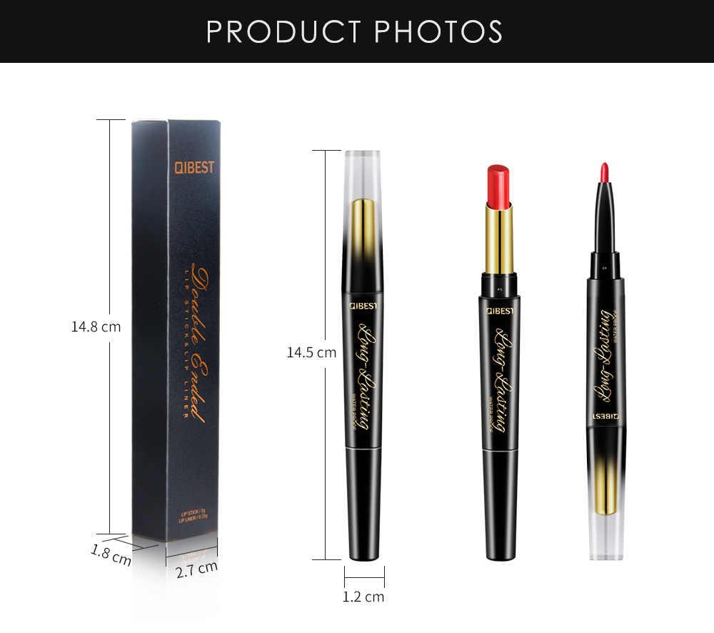 QIBEST 2 In 1 matita per labbra a doppia testa matita rossetto impermeabile pigmenti idratanti a lunga durata colore nudo TSLM1