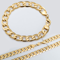 JEWELRY SET Mens Flat CUT CURB CUBAN Necklace Bracelet Chain Gold Filled GF Gift Wholesale Jewelry Free Shipping GS04