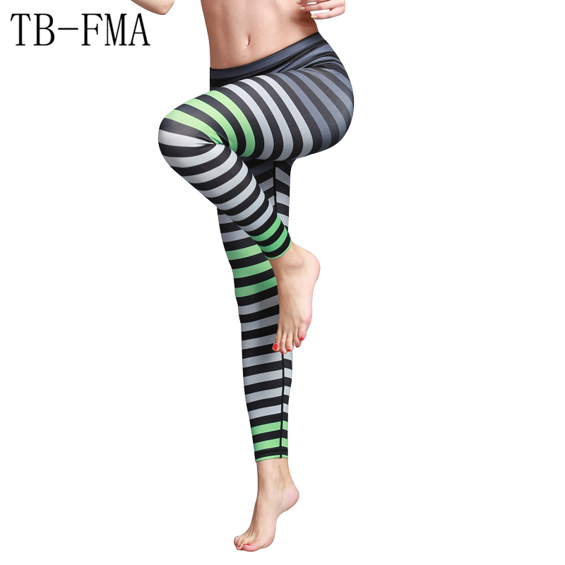 Striated Yoga pants women sportswear High Waist Stretch Fabric Sports Skinny leggings Fitness Running Tights Hips Compression