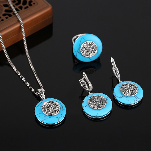 d1c496ed0adf3 HENSEN Vintage Silver Plated Turkish Jewellery Set Round Shape Natural  Stone Blue Turquoise Jewelry Sets For Women Gift-in Jewelry Sets from  Jewelry & ...