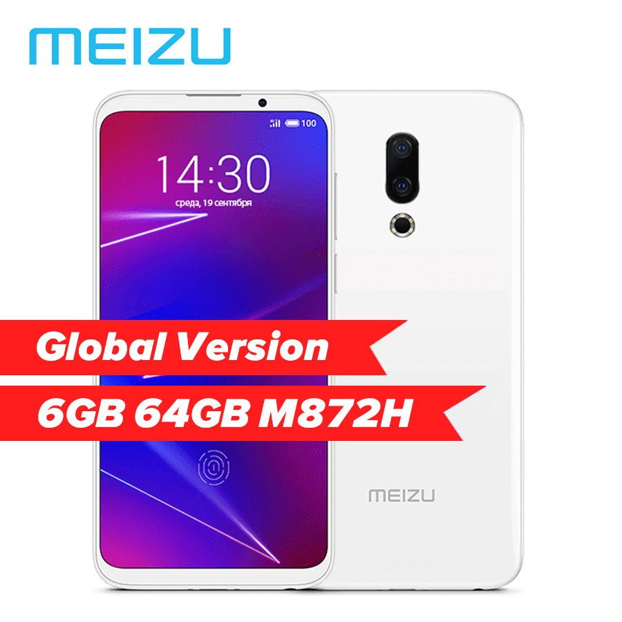 Global Version Meizu 16 6.0'' 6GB 64GB M872H Snapdragon 710 Octa Core 2160x1080P 20MP 3100mAh In-Screen Fingerprint Mobile Phone