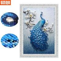UzeQu Special Shaped Diamond Embroidery Full 5D DIY Diamond Painting Peacock Cross Stitch 3D Diamond Mosaic