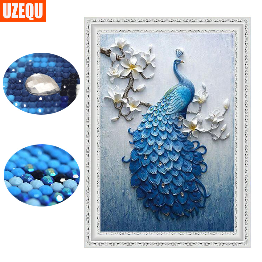UzeQu Special Shaped Diamond Embroidery Full 5D DIY Diamond Painting Peacock Cross Stitch 3D Diamond Mosaic