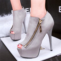 2016 New Arrival Concise Super High Platform Women Pumps Fashion Size Zip Sexy Peep Toe Solid Suede High Heels 14cm Party Shoes