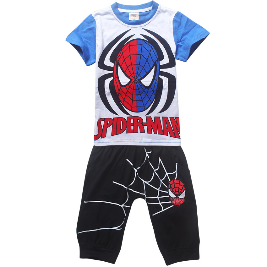 boys clothing set summer clothes 2016 classical spider man printing short shirt 100% cotton pants sets
