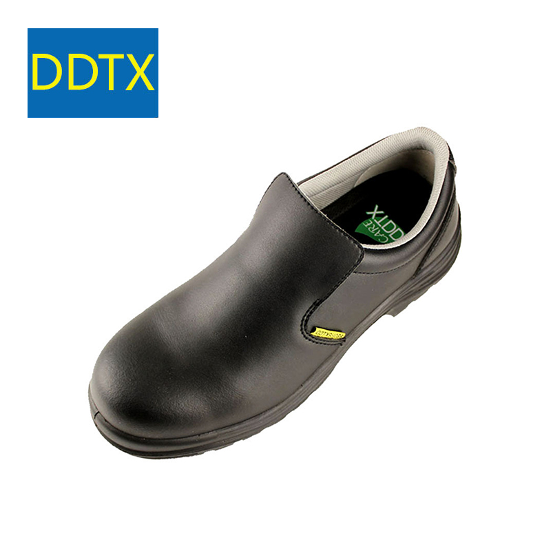 DDTX Black Safety Shoes Compostie Toe Waterproof Oil And Slip Resistant Work Shoes For Chef Breathable Comfortable Anti Static soft and comfortable work shoe covers slip resistant mens safety footwear used in restaurant sea food shop kitchen chef shoes