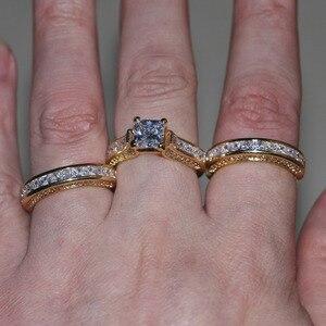 Image 5 - Vecalon Fashion 3 in 1 Women ring Princess cut 7mm AAAAA Zircon cz Yellow Gold 925 Sterling Silver wedding Band ring Set