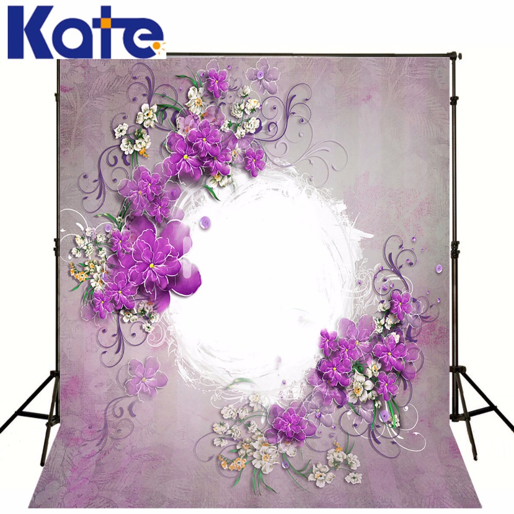 Kate Purple Flower Wall Backdrop Indoor Wedding Background Cloth Wood Floor Wall Photography Backdrops Seamless Photo For Studio 857 seamless nail wedding photo frame wall paintings hook the real invisible