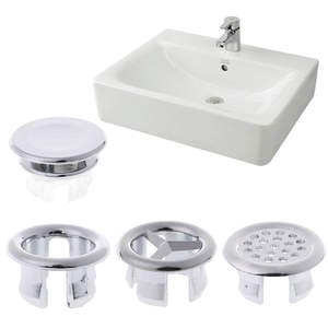 5 Pcs Bathroom Accessory Basin Sink Round Overflow Cover Rings Insert  Replacement