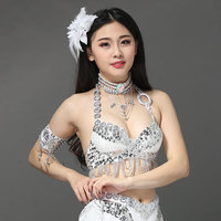 2018 New Belly dance costumes senior sexy sequins tassel beads belly dance bra for women belly dancing bra tops
