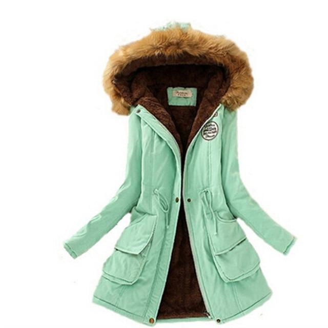 2016 Женщин Зимой Вниз Пальто Куртки Женщины Сгущает Теплая Зима Меховой Воротник Плюс Размер Ветровки для Женщин Длинные Вниз Куртка