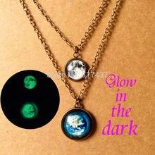 1pc Glowing Jewelry galaxy moon necklace glass art photo ear