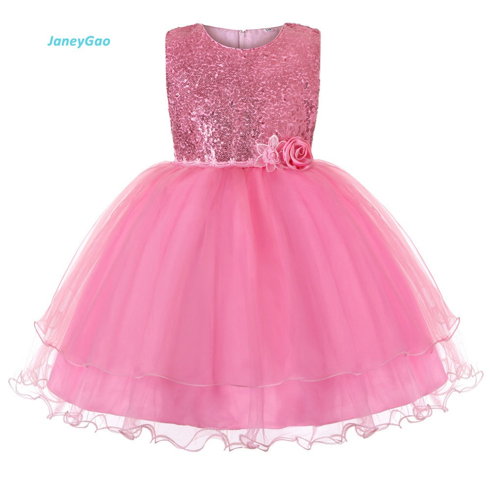 JaneyGao Flower Girl Dresses For Wedding Party Children Dress Sequined Girl Party Dress Princess Pageant First