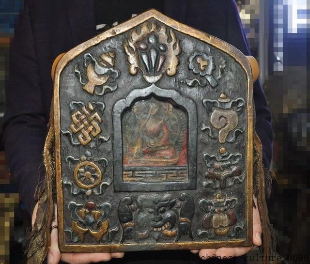 christmas Tibet Old Wood carved eight treasures sakyamuni Medicine Buddha Shrines statue halloween