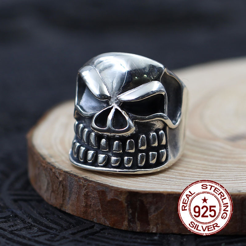 S925 sterling silver mens open ring personality classic retro fashion series carved skull modeling send lovers giftS925 sterling silver mens open ring personality classic retro fashion series carved skull modeling send lovers gift