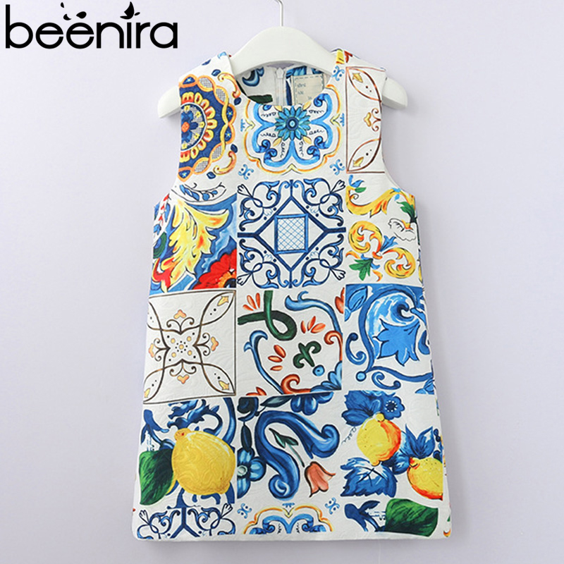 Beenira Girls Dress 2018 New Summer Style Baby Girls Dresses Sleeveless Floral Printing for Princess Dress 3-8year Clothes Dress