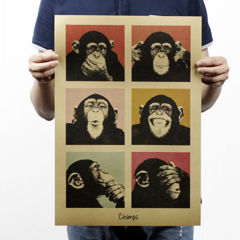 Vintage poster Gorilla bar counter adornment kitchen retro kraft paper posters,Movie poster Wall stickers 51*35CM