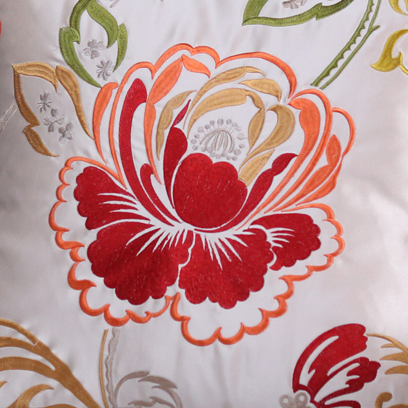 Silk Embroidery Throw Cushion Cover For Sofa Luxury Pillow Cover Flower Cushion Case Home Decor Pillow Chinese Cushions Wedding