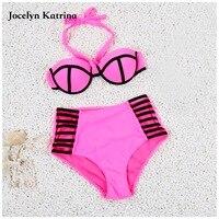 Jocelyn Katrina 2017 Sexy Bikini Women Swimsuit Plus Size Swimwear Retro Halter Top Bikini Set Summer