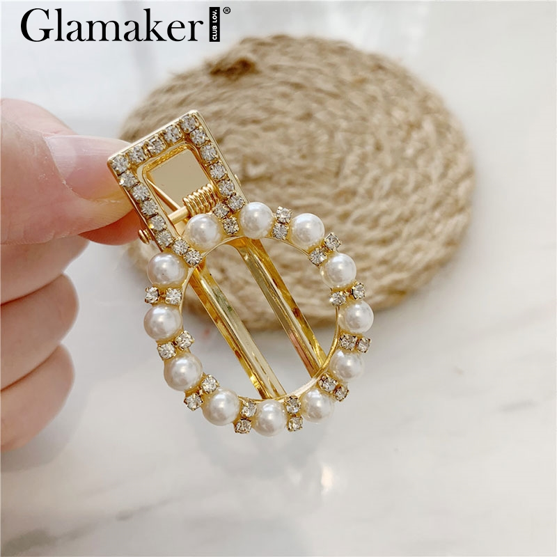 Glamaker Fashion Alloy With Pearls Geometric Hair Jewelry Women Luxurious Ornaments Female Cute Hair Garniture Vintage 2019 New