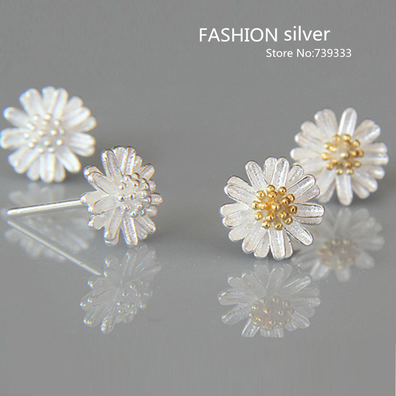 Real 925 Sterling Silver Earrings Beautiful Sunflowers Daisy Stud Fashion Jewelry Small Flower For Women In From