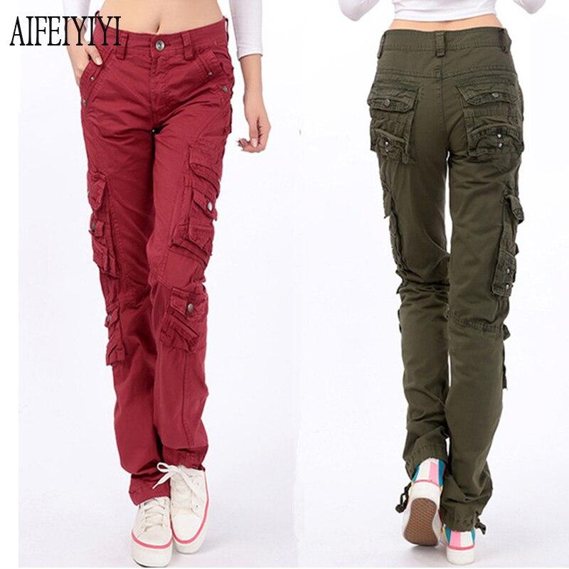Denim Pantalon Femmes 2019 Printemps Hommes/Femmes Armée Rouge Multi-Poche jeans baggy Pantalon cargo Lâche Droite Pantalon militaire