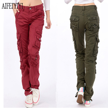 Fall Winter 2017 Men/Womens Army Red Multi-Pocket Baggy Jeans Cargo Pants Loose Military Trousers Straight Denim Pantalon Femmes