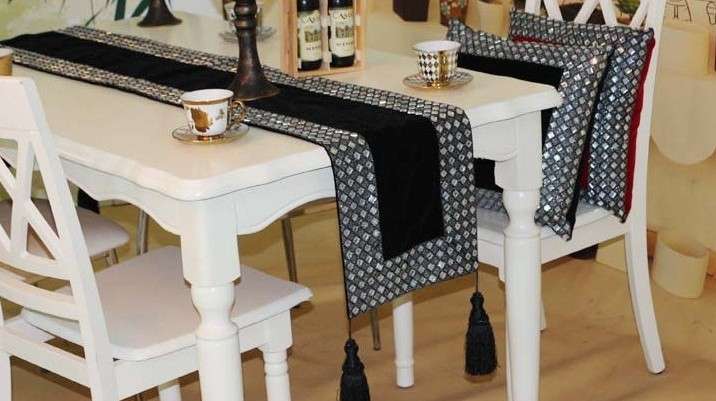 High End Luxury Short Floss Rhinestone Table Runner Tablecloth Cover Two Colors Optional Customizing Accepted In Runners From Home Garden On