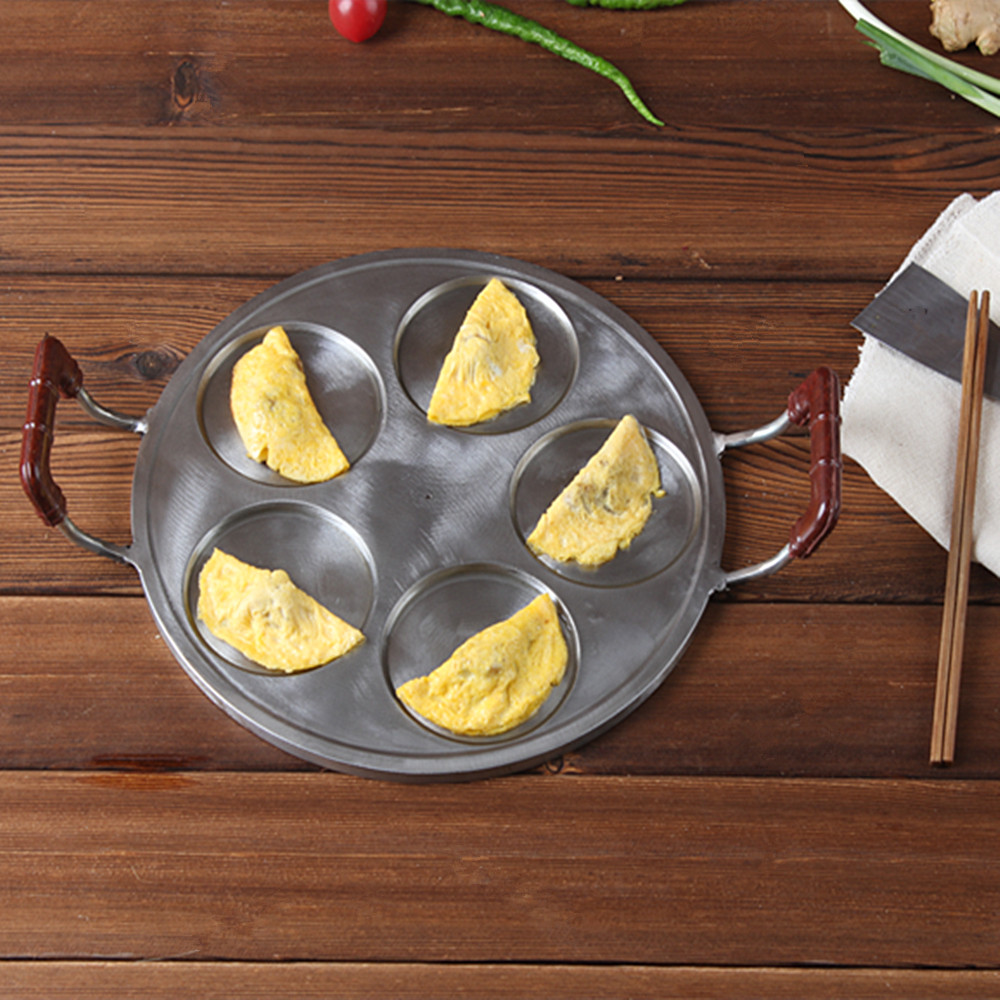 Direct Selling 28cm Five Holes Frying Panfor Egg Dumpling Non Stick Whole Iron Carved Plate Baking Mold For Gas Stove innovative owl shape silicone egg frying mould frying pancake mold breakfast mould creative kitchen supplies for diy present