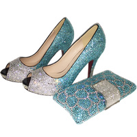 2017 Lady Fashion High Heel Shoes Blue Rhinestone Open Toe Wedding Italian Shoes With Matching Bags