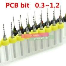 10 pcs 0.3mm-1.2mm mini PCB broca de carboneto de tungstênio de aço para impressão da placa de circuito broca cnc Máquina pedaços